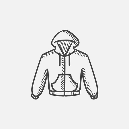 hooded sweatshirt: Hoodie sketch icon for web, mobile and infographics. Hand drawn vector isolated icon.