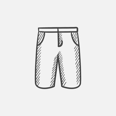Man shorts schets pictogram voor web, mobiel en infographics. geïsoleerde hand getrokken vector pictogram. Stock Illustratie
