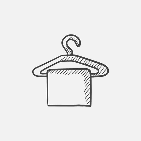Towel on hanger sketch icon for web, mobile and infographics. Hand drawn vector isolated icon. Vettoriali