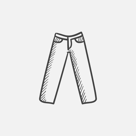 Trousers sketch icon for web, mobile and infographics. Hand drawn vector isolated icon.