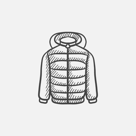 fur hood: Jacket sketch icon for web, mobile and infographics. Hand drawn vector isolated icon.
