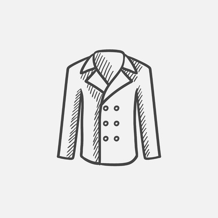 Male coat sketch icon for web, mobile and infographics. Hand drawn vector isolated icon.