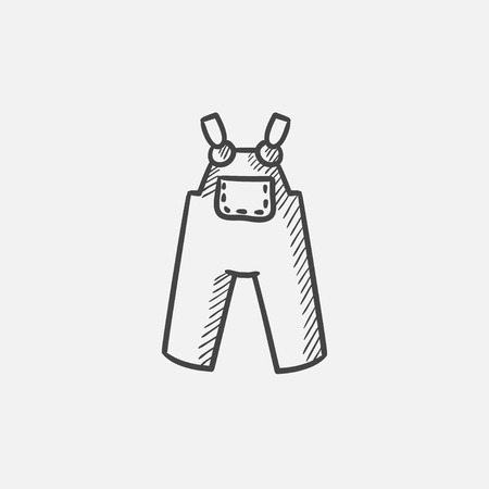 overalls: Baby overalls sketch icon for web, mobile and infographics. Hand drawn vector isolated icon.