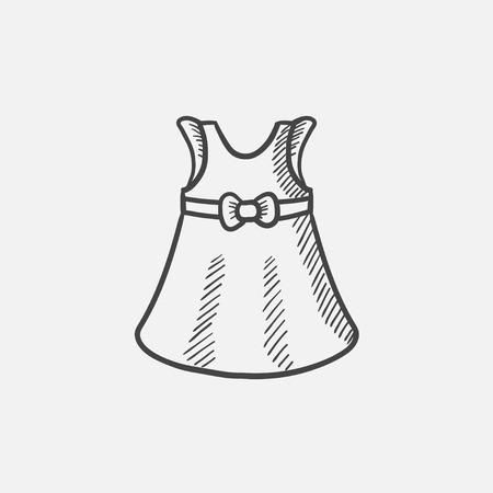 habiliment: Baby dress sketch icon for web, mobile and infographics. Hand drawn vector isolated icon.
