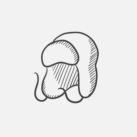 fur cap: Warm fur cap sketch icon for web, mobile and infographics. Hand drawn vector isolated icon. Illustration