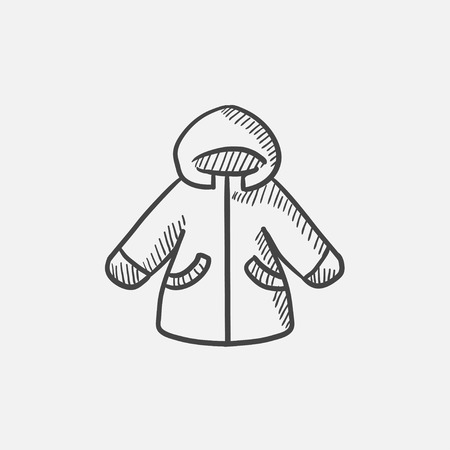 winter jacket: Winter jacket sketch icon for web, mobile and infographics. Hand drawn vector isolated icon.
