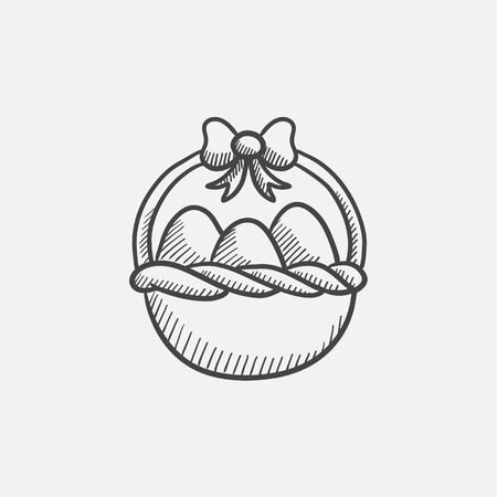 Basket full of easter eggs sketch icon for web, mobile and infographics. Hand drawn vector isolated icon. Illusztráció