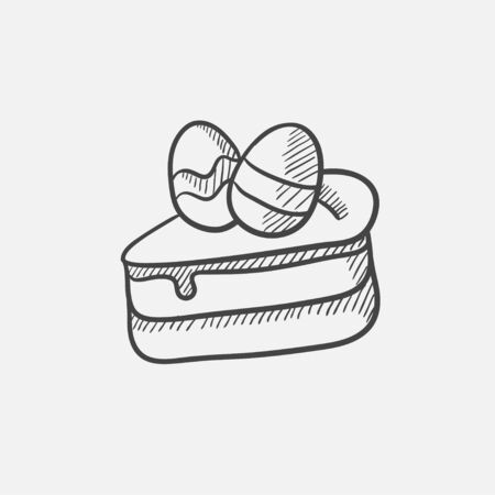an easter cake: Easter cake with eggs sketch icon for web, mobile and infographics. Hand drawn vector isolated icon. Illustration