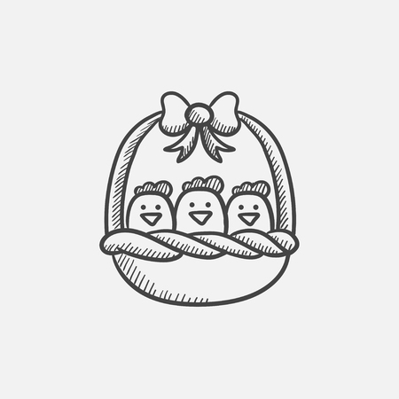 Basket full of easter chicks sketch icon for web, mobile and infographics. Hand drawn vector isolated icon. Illusztráció