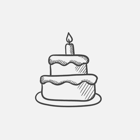 an easter cake: Easter cake with candle sketch icon for web, mobile and infographics. Hand drawn vector isolated icon.