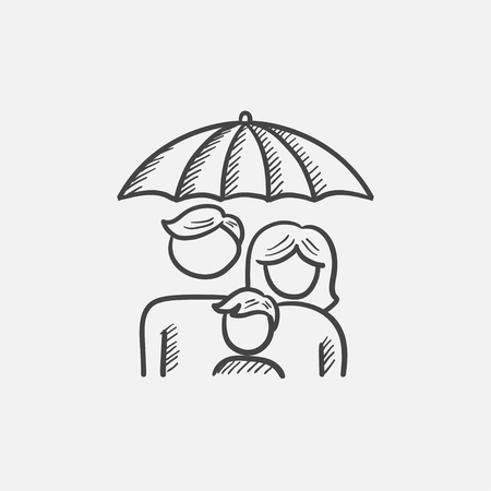 Family under umbrella sketch icon for web, mobile and infographics. Hand drawn vector isolated icon.