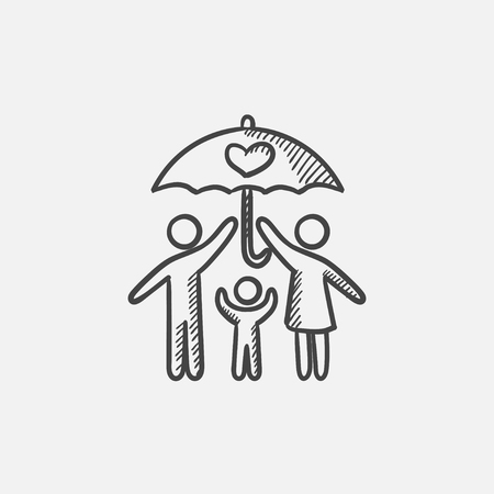 family isolated: Family under umbrella  sketch icon for web, mobile and infographics. Hand drawn vector isolated icon. Illustration