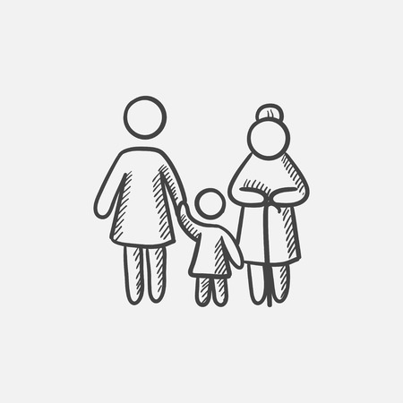 grandmother mother daughter: Mother, daughter and grandmother sketch icon for web, mobile and infographics. Hand drawn vector isolated icon.