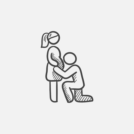 kissing pregnant belly: Man kissing the belly of his pregnant wife sketch icon for web, mobile and infographics. Hand drawn vector isolated icon. Illustration