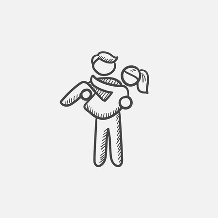 girlfriend: Man carrying his girlfriend sketch icon for web, mobile and infographics. Hand drawn vector isolated icon.