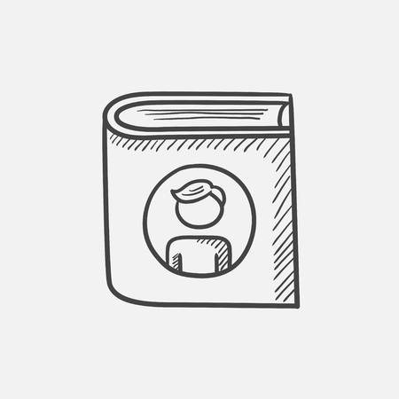 Family photo album sketch icon for web, mobile and infographics. Hand drawn vector isolated icon.