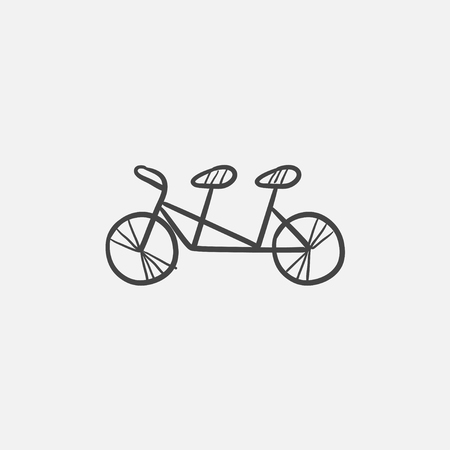 Tandem bike sketch icon for web, mobile and infographics. Hand drawn vector isolated icon. Illustration
