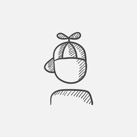 Boy in cap with propeller sketch icon for web, mobile and infographics. Hand drawn vector isolated icon. Illustration