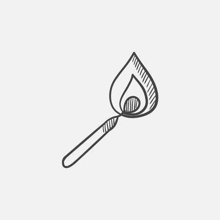 Burning match  sketch icon for web, mobile and infographics. Hand drawn vector isolated icon.