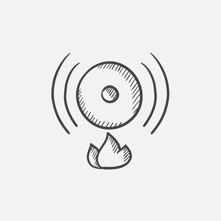 evacuation equipment: Fire alarm sketch icon for web, mobile and infographics. Hand drawn vector isolated icon.