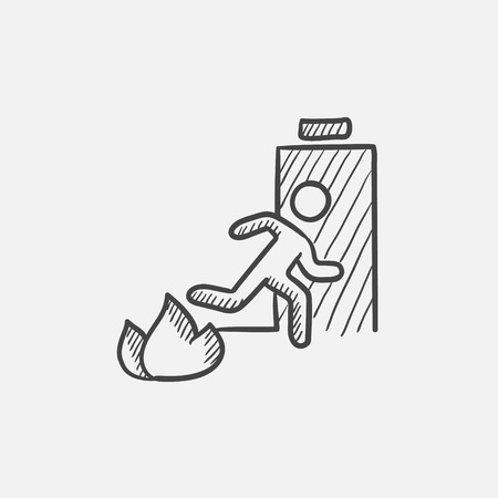 open flame: Emergency fire exit door sketch icon for web, mobile and infographics. Hand drawn vector isolated icon. Illustration