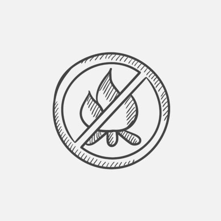 forewarning: No fire sign sketch icon for web, mobile and infographics. Hand drawn vector isolated icon.