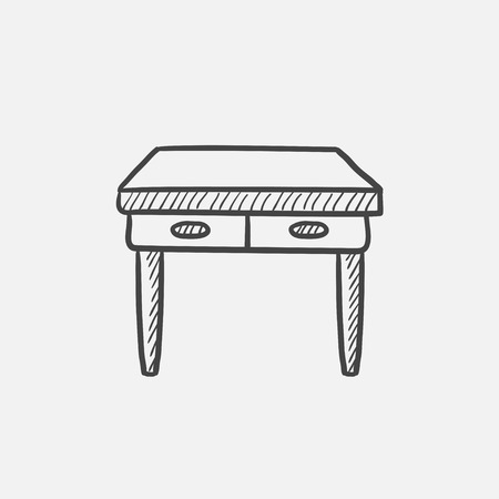 one bedroom: Table with drawers sketch icon for web, mobile and infographics. Hand drawn vector isolated icon.