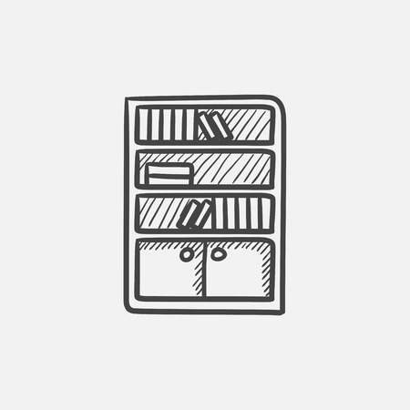 bookcase: Bookcase sketch icon for web, mobile and infographics. Hand drawn vector isolated icon.