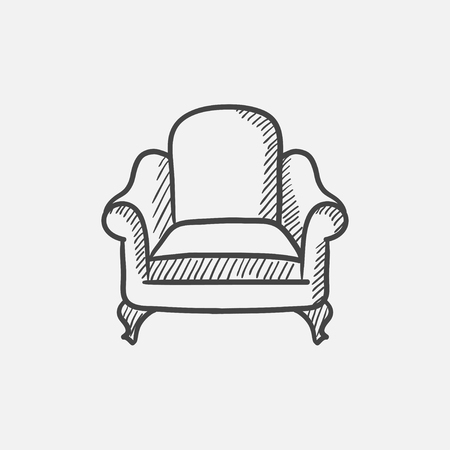 interior decoration: Armchair sketch icon for web, mobile and infographics. Hand drawn vector isolated icon.