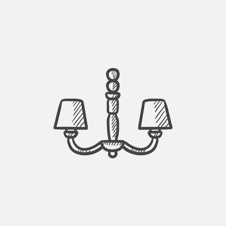 interior decoration: Chandelier sketch icon for web, mobile and infographics. Hand drawn vector isolated icon.