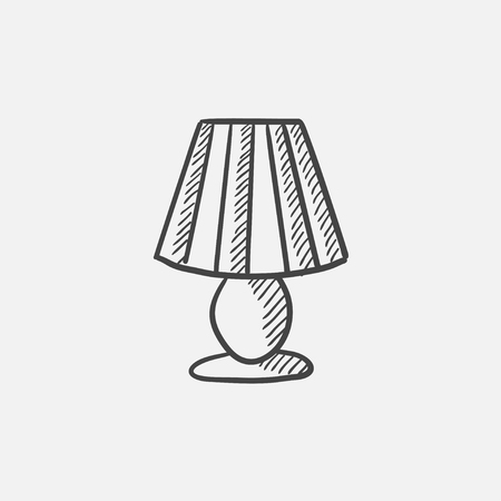 lampshade: Table lamp sketch icon for web, mobile and infographics. Hand drawn vector isolated icon. Illustration