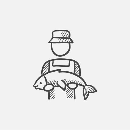 fishman: Fisherman with big fish sketch icon for web, mobile and infographics. Hand drawn vector isolated icon.