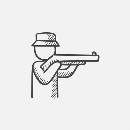 Hunter sketch icon for web, mobile and infographics. Hand drawn vector isolated icon.