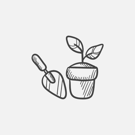 seedlings: Garden trowel and pot with growing plant sketch icon for web, mobile and infographics. Hand drawn vector isolated icon.