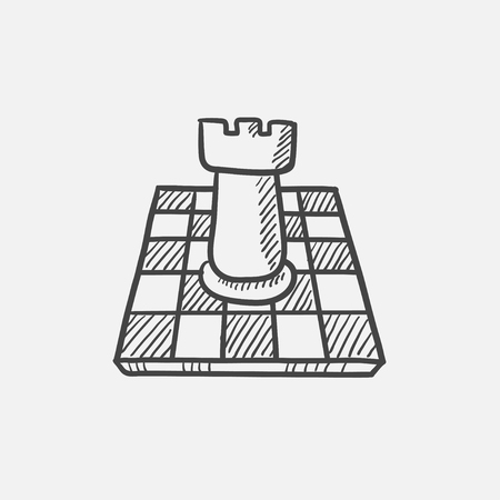 outwit: Chess sketch icon for web, mobile and infographics. Hand drawn vector isolated icon. Illustration