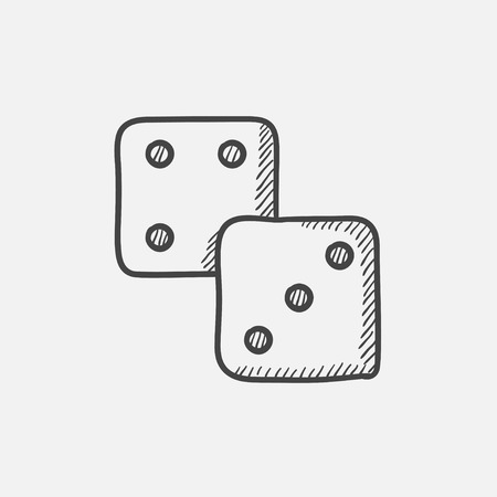 Dice sketch icon for web, mobile and infographics. Hand drawn vector isolated icon. Vector Illustration
