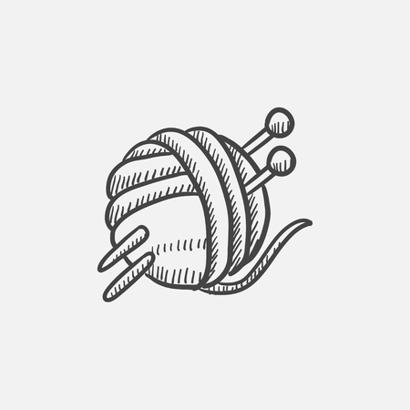 spokes: Threads for knitting with spokes sketch icon for web, mobile and infographics. Hand drawn vector isolated icon.