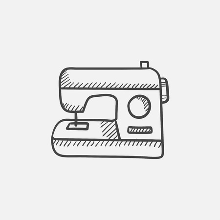 Sewing-machine sketch icon for web, mobile and infographics. Hand drawn vector isolated icon.