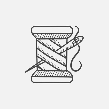 hank: Spool of thread and needle sketch icon for web, mobile and infographics. Hand drawn vector isolated icon.