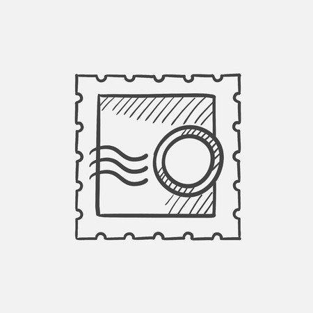 collectible: Stamp sketch icon for web, mobile and infographics. Hand drawn vector isolated icon. Illustration
