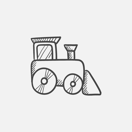 hand rails: Toy train sketch icon for web, mobile and infographics. Hand drawn vector isolated icon.