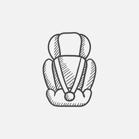 car seat: Baby car seat sketch icon for web, mobile and infographics. Hand drawn vector isolated icon.
