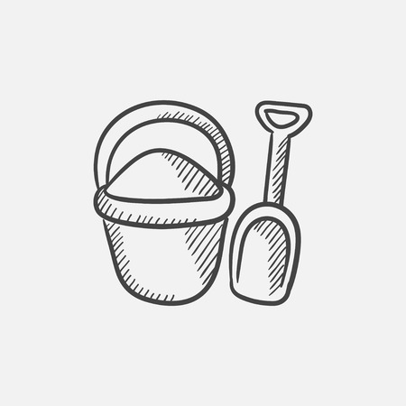 bucket and spade: Bucket and spade for children sketch icon for web, mobile and infographics. Hand drawn vector isolated icon. Illustration