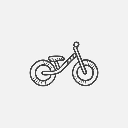 Child bike sketch icon for web, mobile and infographics. Hand drawn vector isolated icon. Ilustração
