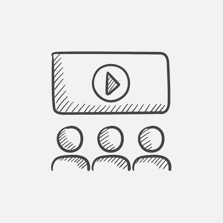 motion picture: Viewers watching motion picture at movie theatre sketch icon for web, mobile and infographics. Hand drawn vector isolated icon. Illustration