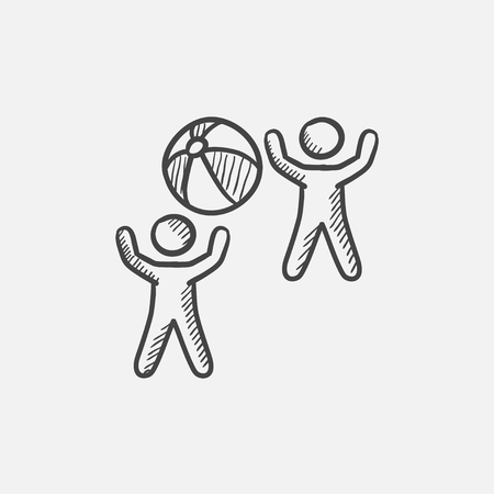 inflatable ball: Children playing with inflatable ball sketch icon for web, mobile and infographics. Hand drawn vector isolated icon.