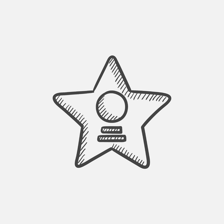 famous actor: Cinema star sketch icon for web, mobile and infographics. Hand drawn vector isolated icon.
