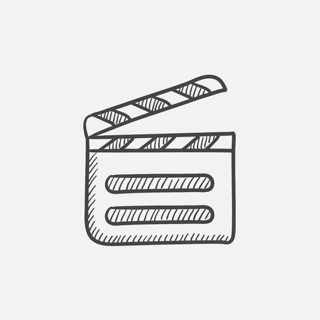 flick: Clapboard sketch icon for web, mobile and infographics. Hand drawn vector isolated icon.