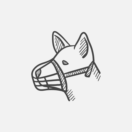 restraining: Dog with muzzle sketch icon set for web, mobile and infographics. Hand drawn vector isolated icon.