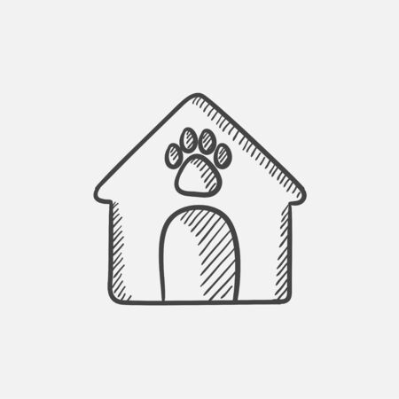 doghouse: Doghouse sketch icon set for web, mobile and infographics. Hand drawn vector isolated icon.